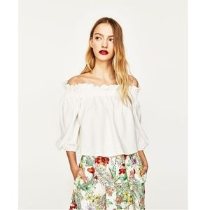 Zara White Off the Shoulder Ruffle Top Medium